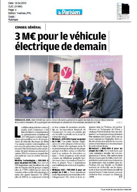 Lauréats 2010 appel à projets véhicules du futur